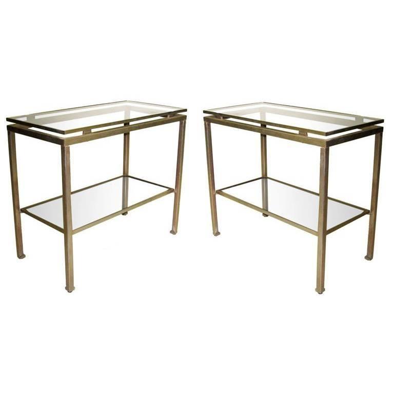 Pair French Mid-Century Modern Nickel Side Tables, Guy Lefevre for Maison Jansen