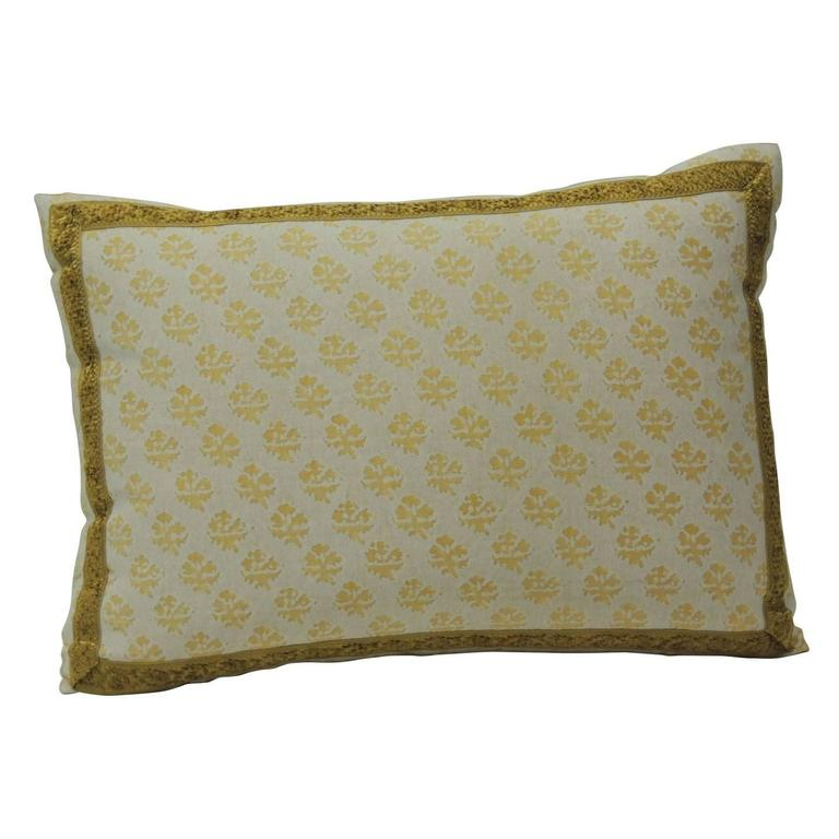 Yellow fortuny persiano citron on white pillow at 1stdibs - Whiten yellowed pillows ...