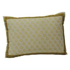 """Yellow Fortuny """"Persiano"""" Citron on White Pillow"""