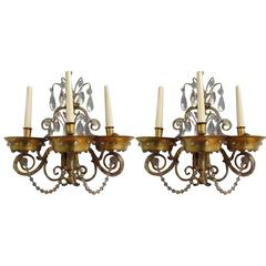 Pair of French Modern Neoclassical Brass and Crystal Sconces by Maison Jansen