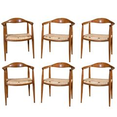 Four Modern Dining Chairs with Caned Seats