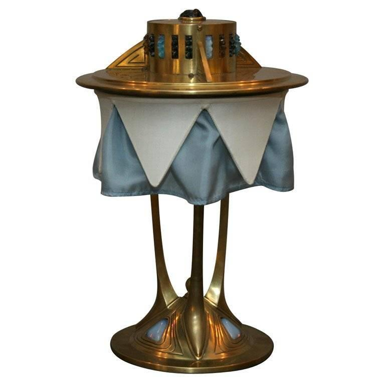 Austrian Brass and Jewel Encrusted Table Lamp For Sale