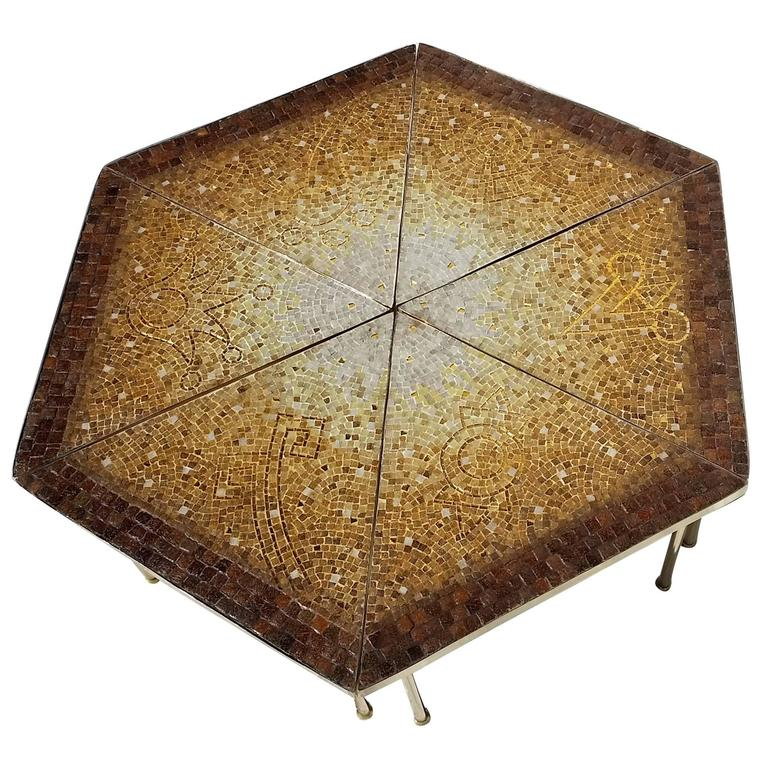 Genaro alvarez 6 piece glass tiled mosaic coffee table mexico at 1stdibs One piece glass coffee table
