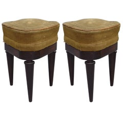 French Modern Neoclassical Mahogany and Suede Tri-Corner Stools, Andre Arbus
