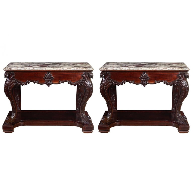 Rare Pair of Chinese Export Marble-Top Consoles For Sale