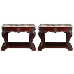 Rare Pair of Chinese Export Marble-Top Consoles