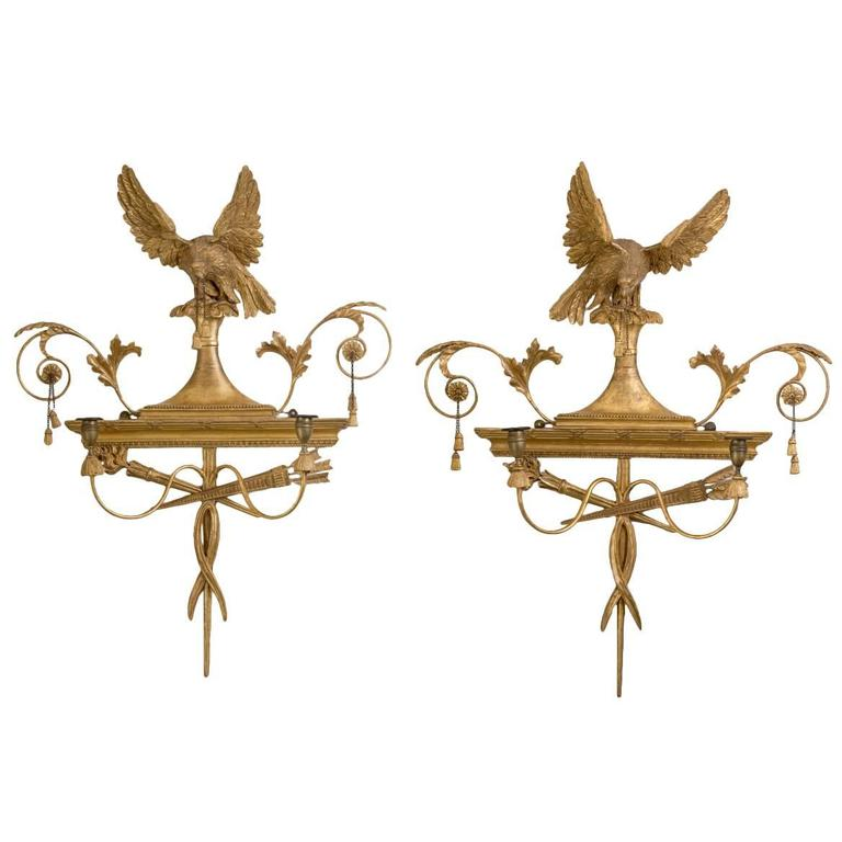 Pair Of Simple Church Lights For Sale: Pair Of George III Giltwood Two-Light Sconces For Sale At