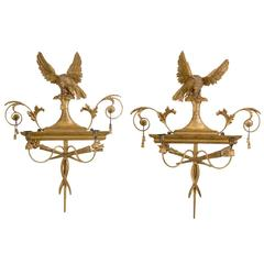 Pair of George III Giltwood Two-Light Sconces
