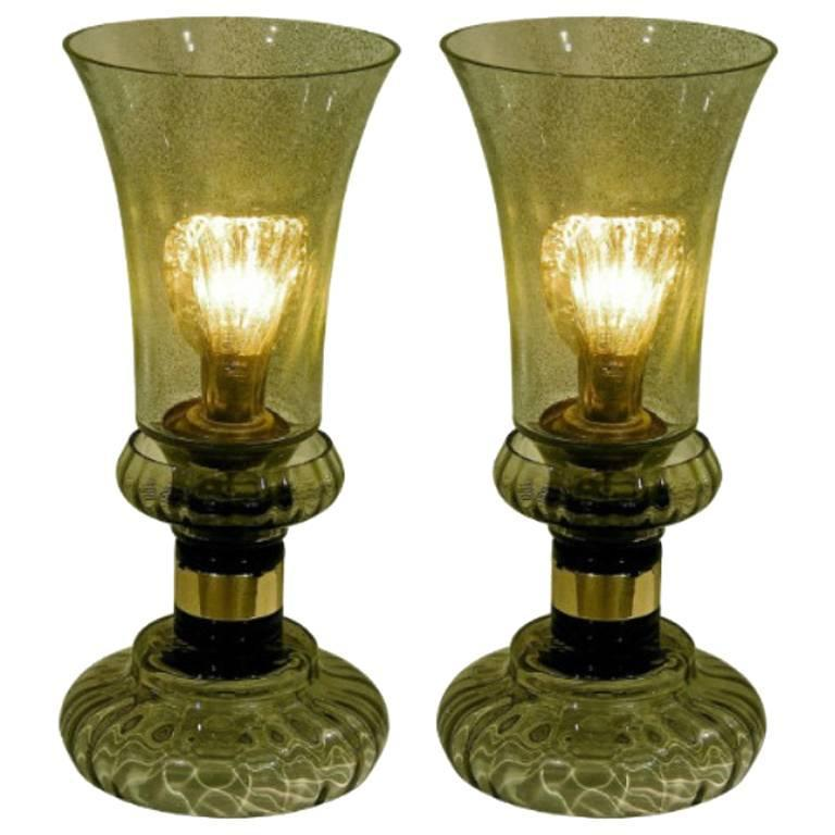 Cenedese 1970s Rare Vintage Pair of Smoked Green Murano Glass Lamps For Sale