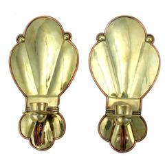 Rare Aguilar Wall Sconces Copper & Brass 1940 VISIT LAUREN STANLEY IN NYC
