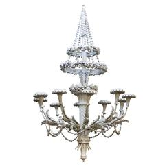 Large Continental Painted, Carved Wood and Composition Ten-Light Chandelier