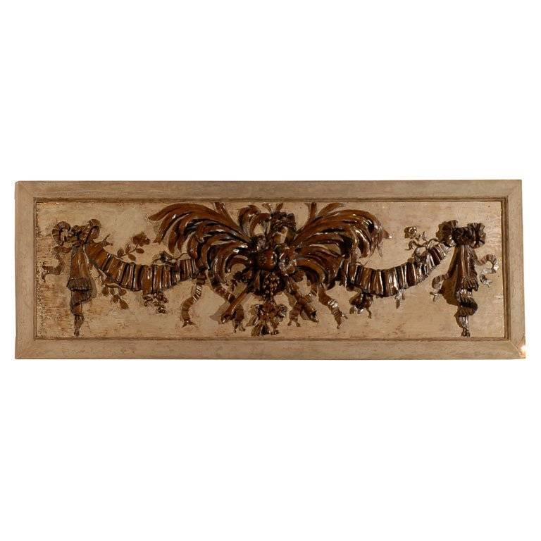 "Early 20th Century Carved Walnut Overdoor with Plumes & Fruit by ""Millard"""