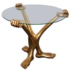 Pedro Friedeberg Hand/Foot Coffee Table with Glass Top