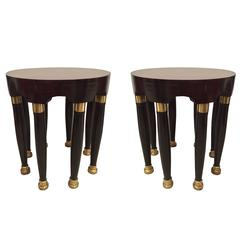 Pair of 1940s Continental Art Deco Round Gilt Trimmed Mahogany End Tables