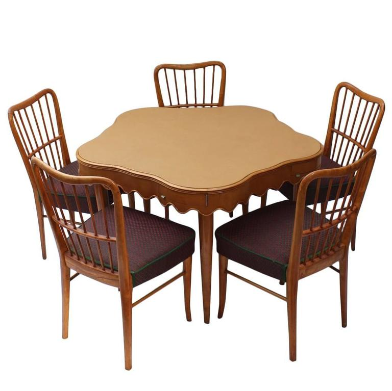 Italian Game Table with Five Chairs