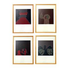 Group of Four Abstract Color Lithographs by Endre Bálint