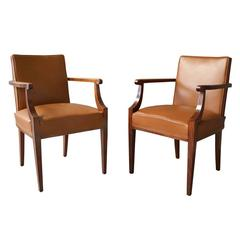 Pair of Fine French Art Deco Mahogany Bridge Chairs Attributed to Pascaud