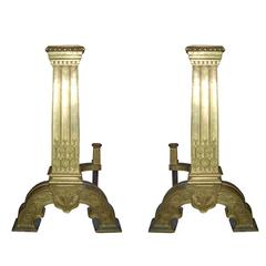 19th-20th Century Bronze Continental Andirons, Jumbo Column