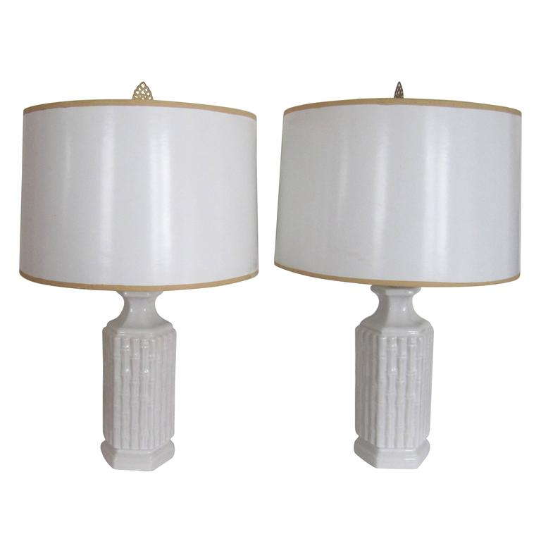 Pair white or blanc de chine ceramic table lamps with for Table de chine