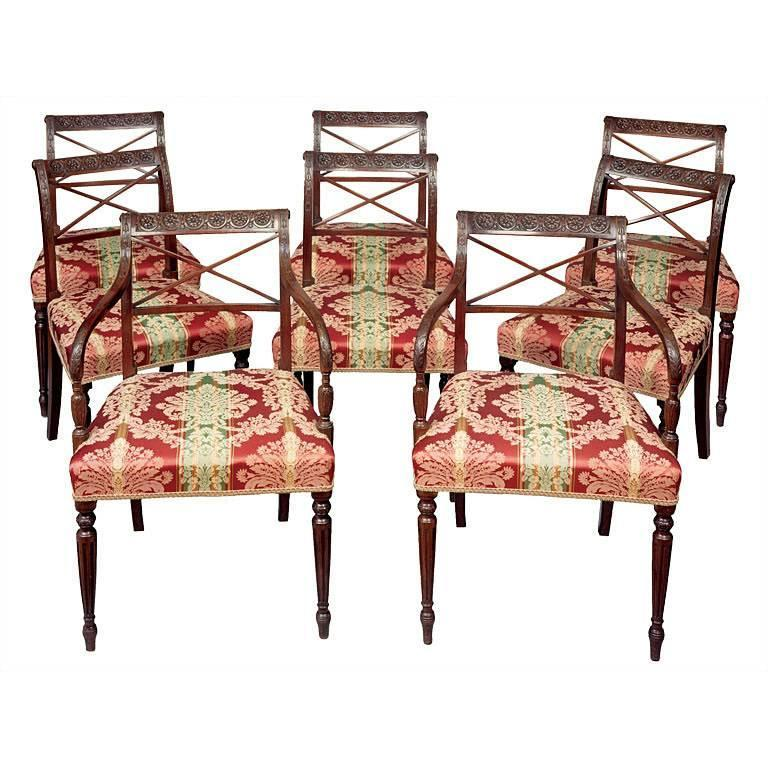 Set of Eight English Neoclassical Dining Chairs 1