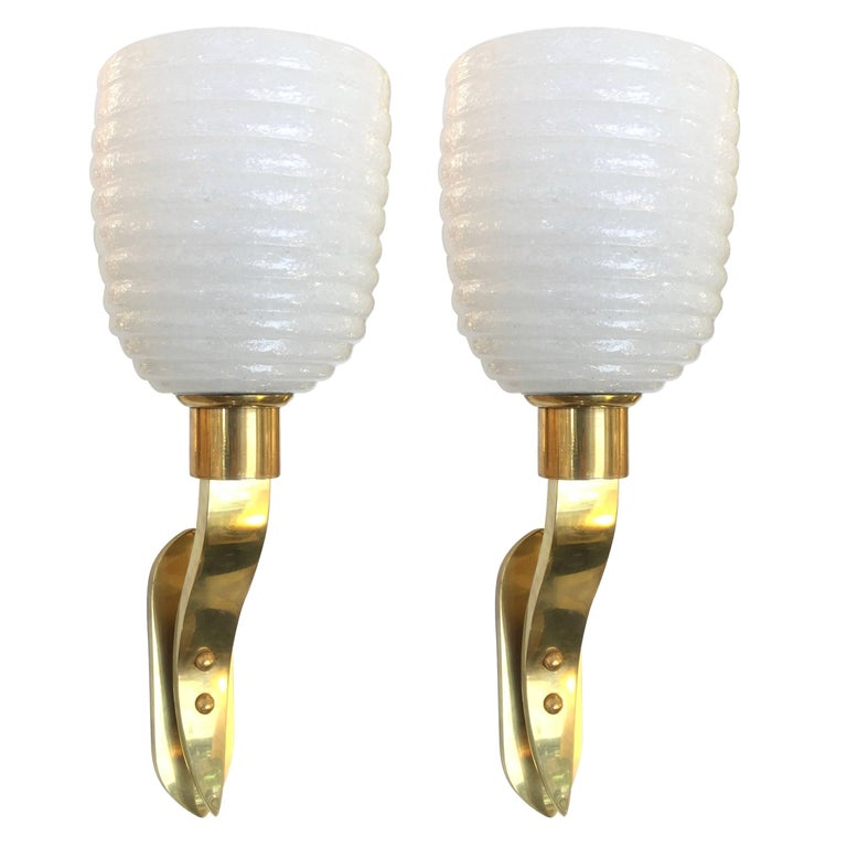 1960s Italian Pair of Art Deco Design Gold Brass and White Murano Glass Sconces