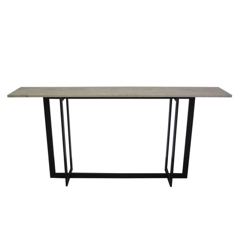 Large French Mid Century Modern Style Iron & Stone Console, Jacques Quinet Style