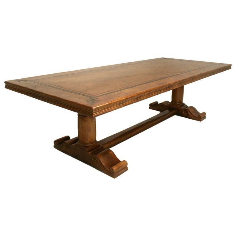 french solid walnut trestle table at 1stdibs. Black Bedroom Furniture Sets. Home Design Ideas