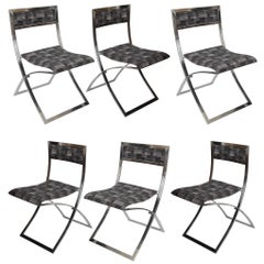"Six Stainless Steel 1960s Folding Dining Chairs ""Luisa"" by Marcello Cuneo"