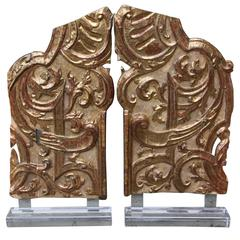 Pair of Monumental Italian Gilt Wood Carvings