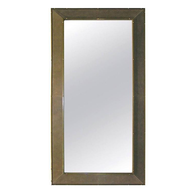1970s italian suede leather floor mirror with modern for Grey floor length mirror