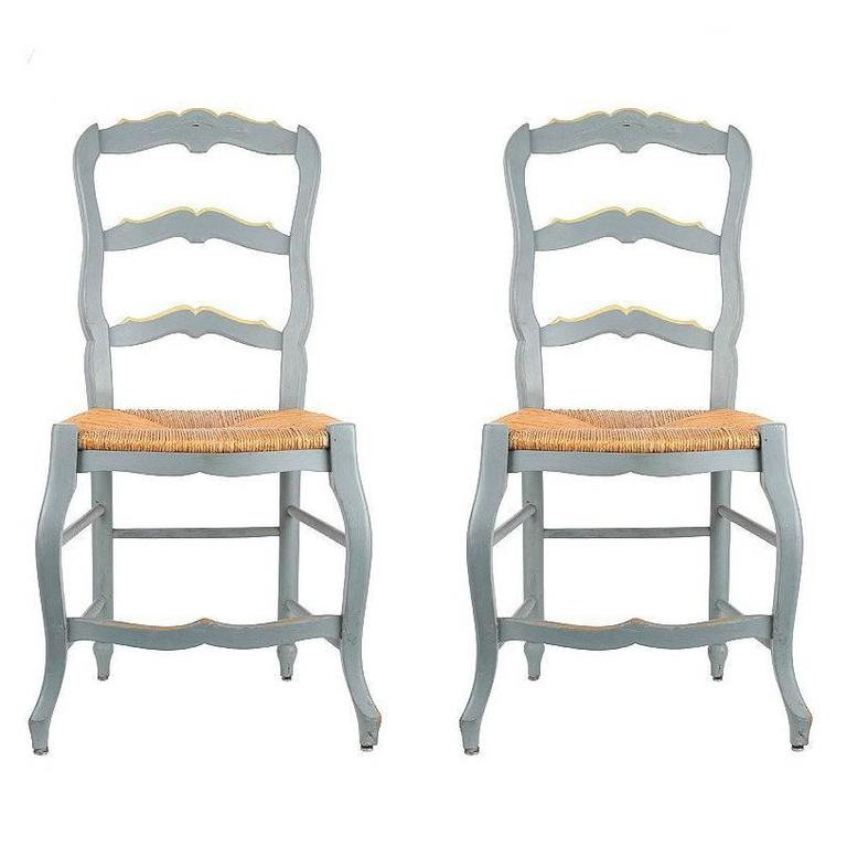 19th Century French Ladder Back Chairs, Set Of Two Chairs For Sale