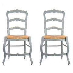 19th Century French Ladder Back Chairs, Set Of Two Chairs