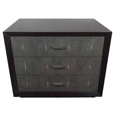 Black Lacquered Dresser with 3 Genuine Gray Shagreen Drawer Fronts
