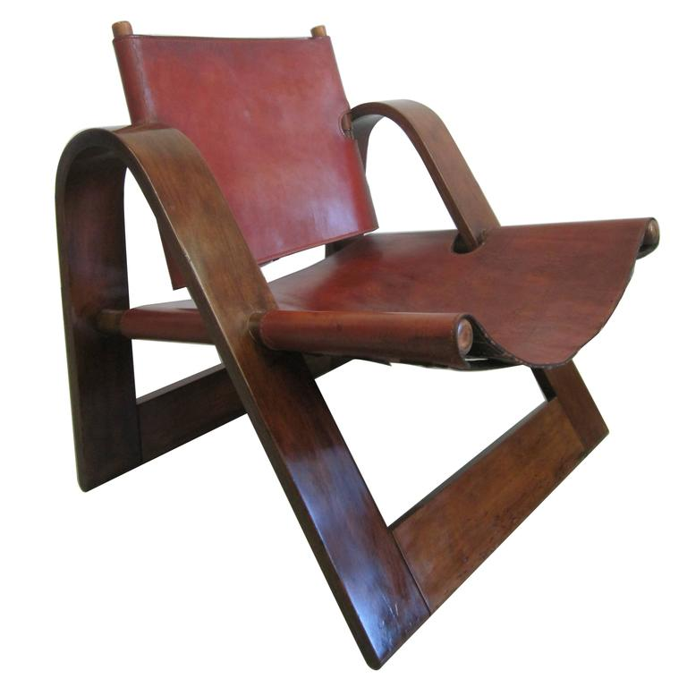 Danish Mid Century Modern Leather Strap Chair Attributed To Borge Mogensen  For Sale