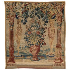 Antique 16th Century Pergola Tapestry with Vase of Flowers