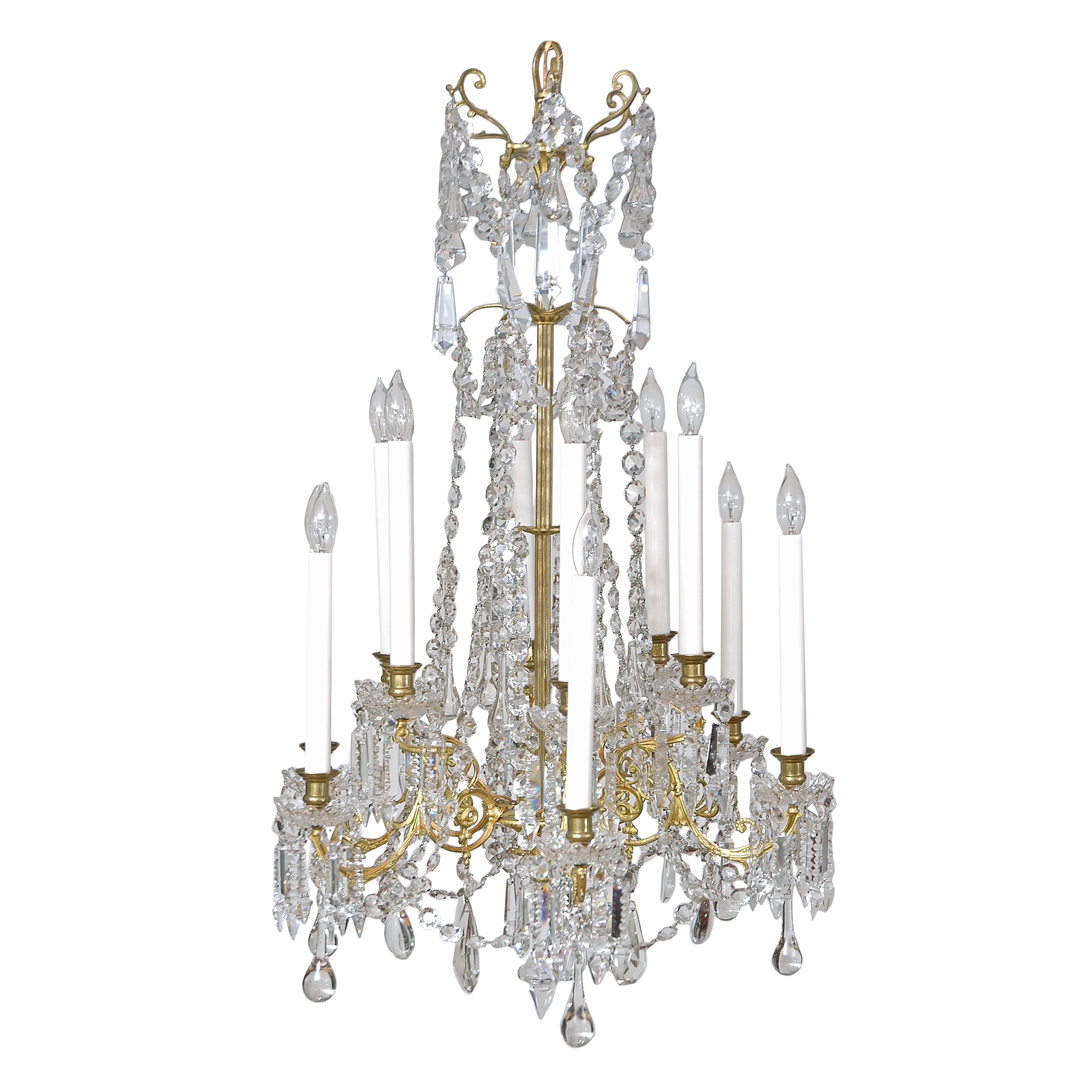 Scandinavian Cut-Glass and Crystal Chandelier with Twelve Lights, circa 1880