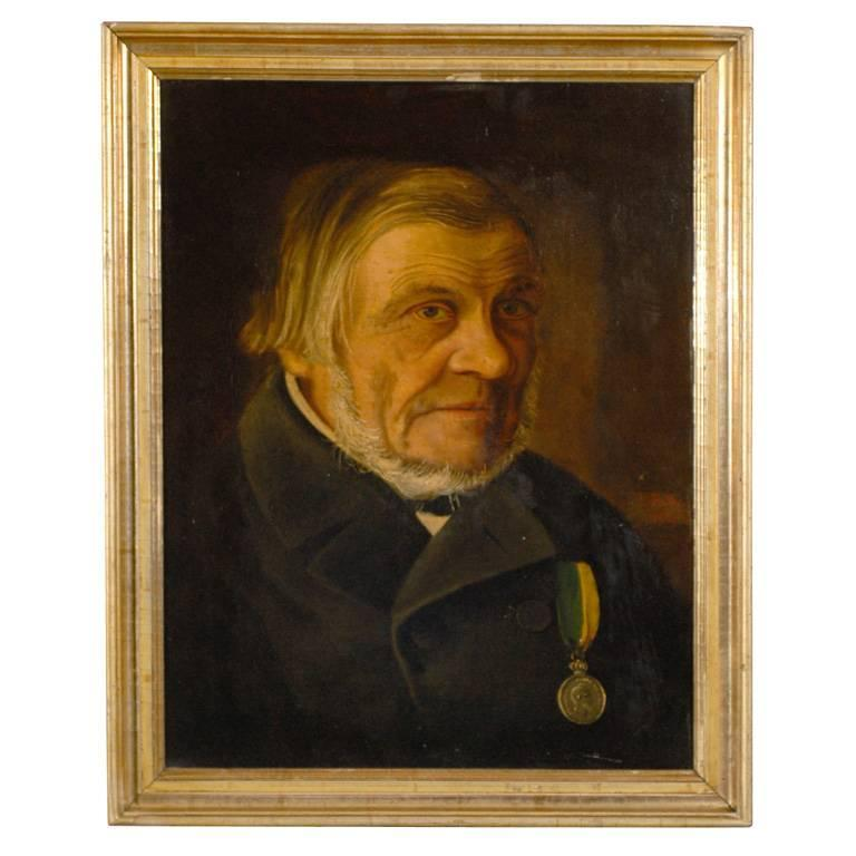 Antique Swedish Oil Portrait of Gentleman