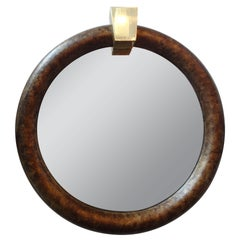 Karl Springer Style Faux Tortoise Shell Mirror 41""
