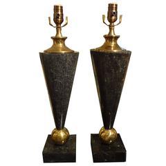 Pair Mid Century Modern Tessellated Stone & Brass Lamps