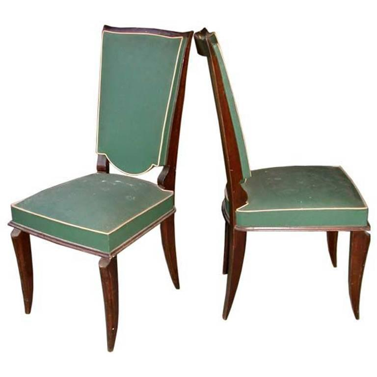 Set of Four Vintage French High Back Dining Chairs