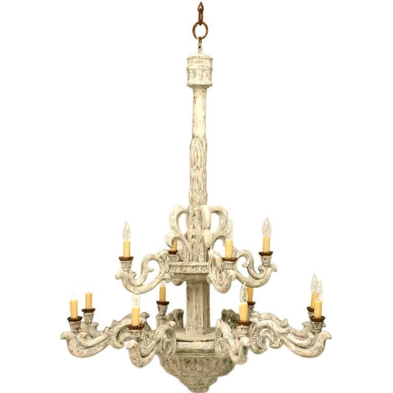 Italian style hand carved wood chandelier at 1stdibs for Wood pendant chandelier
