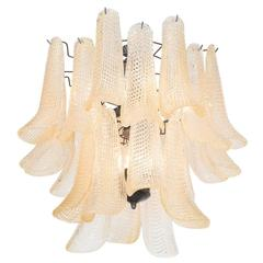 Midcentury Italian Two-Tiered Chandelier with Curved Murano Glass