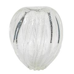 Barovier & Toso Swirled Glass Vase with White Gold
