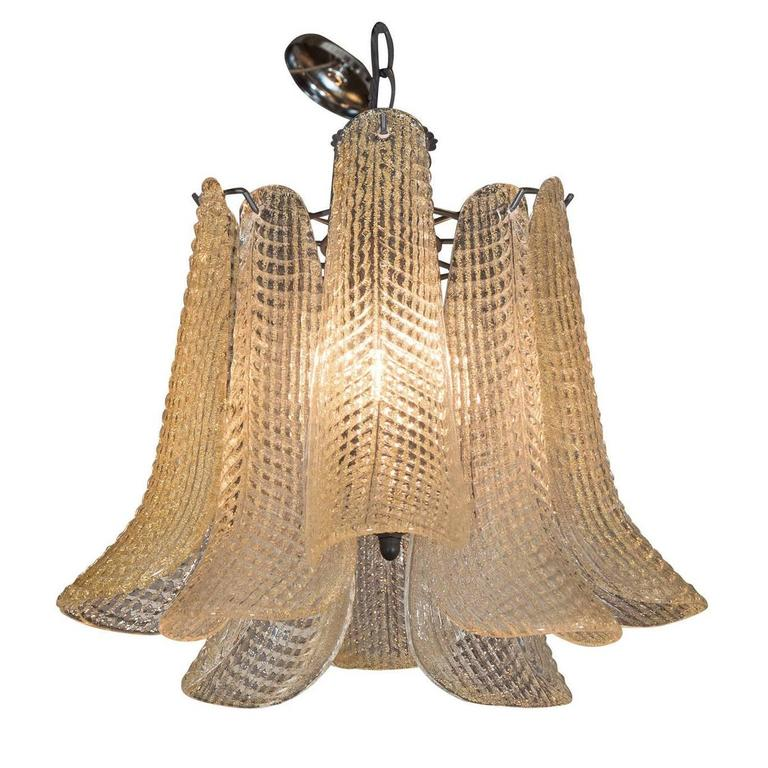 Mid-Century Modern Italian Chandelier with Curved Murano Glass