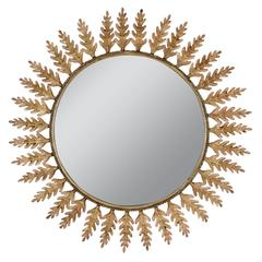 Spanish 1960s Beige Patinated Iron Oak Leaf Sunburst Mirror
