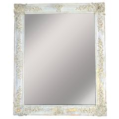 Antique French Restauration Period Mirror in White Patina