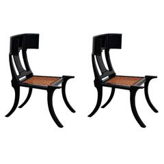 Pair of Black Lacquer and Brown Leather Klismos Chairs
