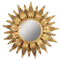 Gilt Metal Sunburst Mirror with Double Layered Leafed Frame, Spain 1960s