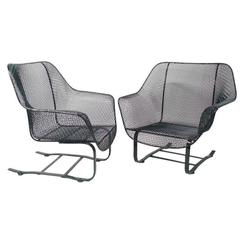 Pair of Russell Woodard Steel Mesh Spring base lounge chairs
