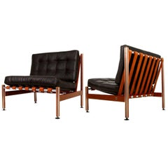 Pair of Mid Century Mexican Modernist Lounge Chairs Barcelona Style
